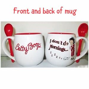 "Betty Boop ""I Don't Do Mornings"" Mug W/ Spoon, 12 oz, Memorabilia"