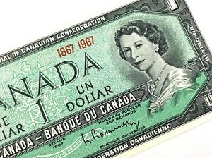 1967-Canada-One-1-Dollar-Centennial-Canadian-Uncirculated-Banknote-L922