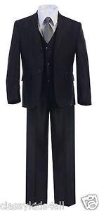 Boy Toddler Teen 5pc Wedding Formal Party Shiny Black Suit Tuxedo w/Vest sz 2-20