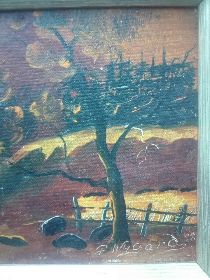 Akrylmaleri, Ukendt, motiv: Landskab