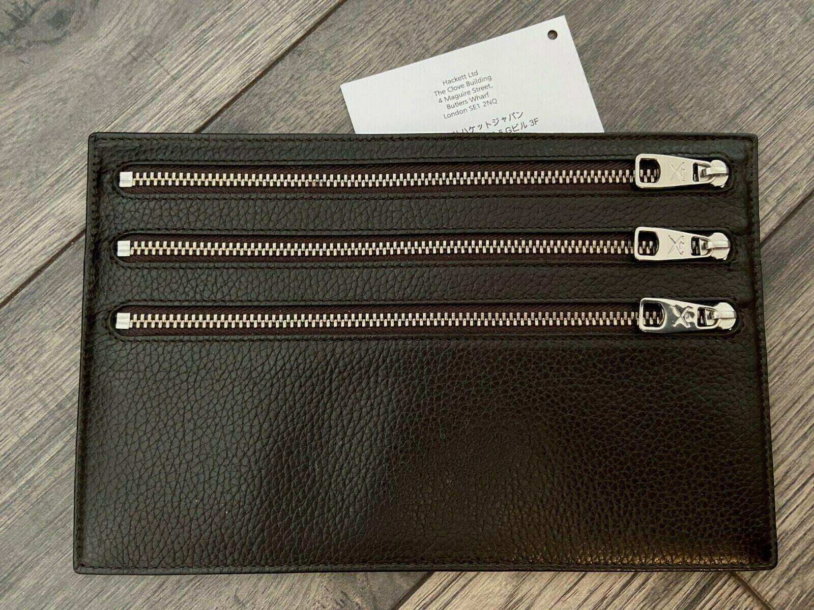 Hackett Braunes Leder Triple Reißverschluss Reise Etui