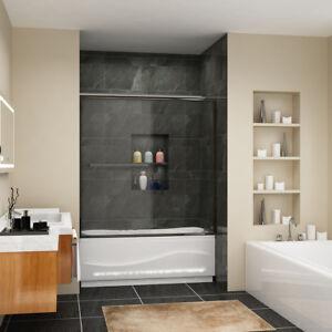 Sunny Shower 60 Semi Frameless Sliding Tub Shower Door Clear