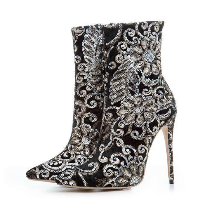 Ladeis Sparkling Sequins Floral Rhinestone Zip Zip Zip Ankle Boots Pointy Toe shoes sp01 405c67