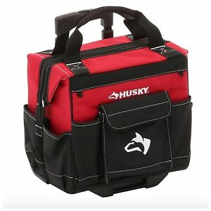 husky portable rolling wheeled wheels tool tools tote bag storage case organizer. Black Bedroom Furniture Sets. Home Design Ideas