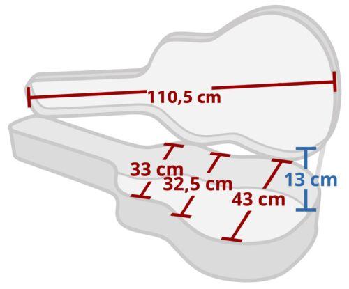 Top robuster Koffer für Westerngitarren mit integriertem Staufach und Tragegriff