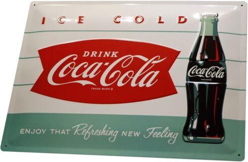 Coca Cola Ice cold geprägt 40x30 Nostalgisches Bar Blechschild Vintage XL06