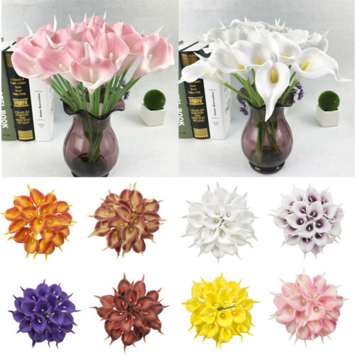 10pcs Artificial PU Real Touch Calla Lily Flower Wedding Party Decor Home Art