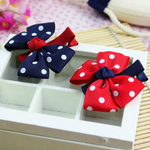 Retro  Kids Dot Hair Clip Hairpins Barrettes Headwear Bow for Baby girls OD