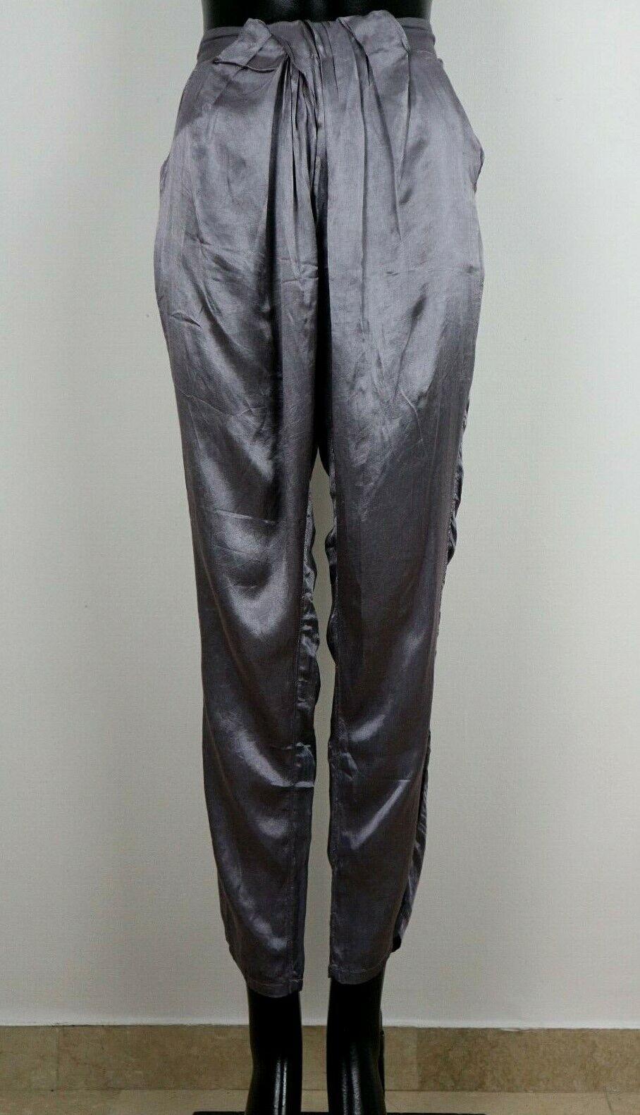 AAIKO Satin Hose New lila-grau grau Silber Shiny Größe 27 (DE36) NEW  369