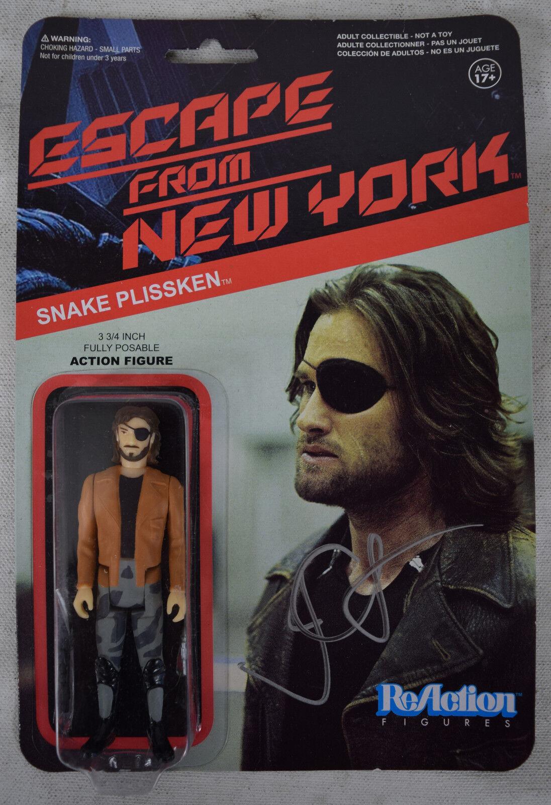 ESCAPE de Nueva York Serpiente Plissken reacción figuras 1 firmado John Cochepenter