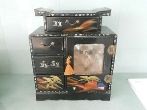 LARGE-ANTIQUE-VINTAGE-CHINESE-JAPANESE-JEWELLERY-CABINET-MUSIC-BOX-BALLERINA