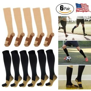 089f6a95dbce5 Image is loading 6Pairs-Unisex-Copper-Infused-Compression-Socks-20-30mmHg-