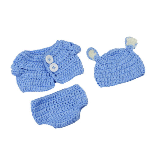 10/'/'-11/'/' Reborn Baby Boy Doll Clothes Knitted Top Underwear Hat Sets Blue