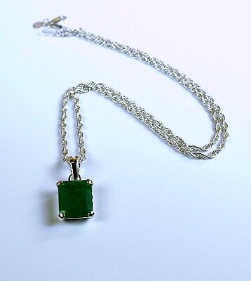 925 Sterling Silver Pendant with Chain 7-8 Carat Natural Pear Colombian Emerald