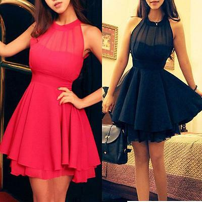 New Women Bridesmaid Backless Chiffon Party Ball Prom Evening Short Dress