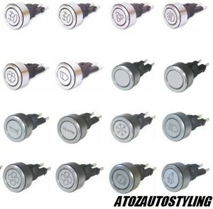 Universal Engraved Alloy LED Push Button Switch Latching Headlights Main Beam