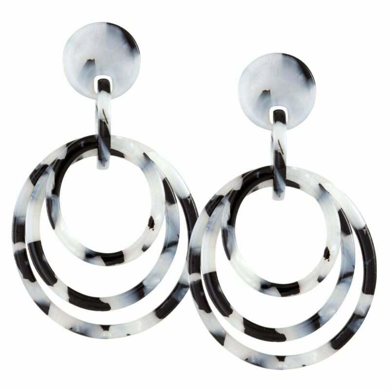 Marisa Grey Tortoiseshell Resin Hoop Pierced Earrings