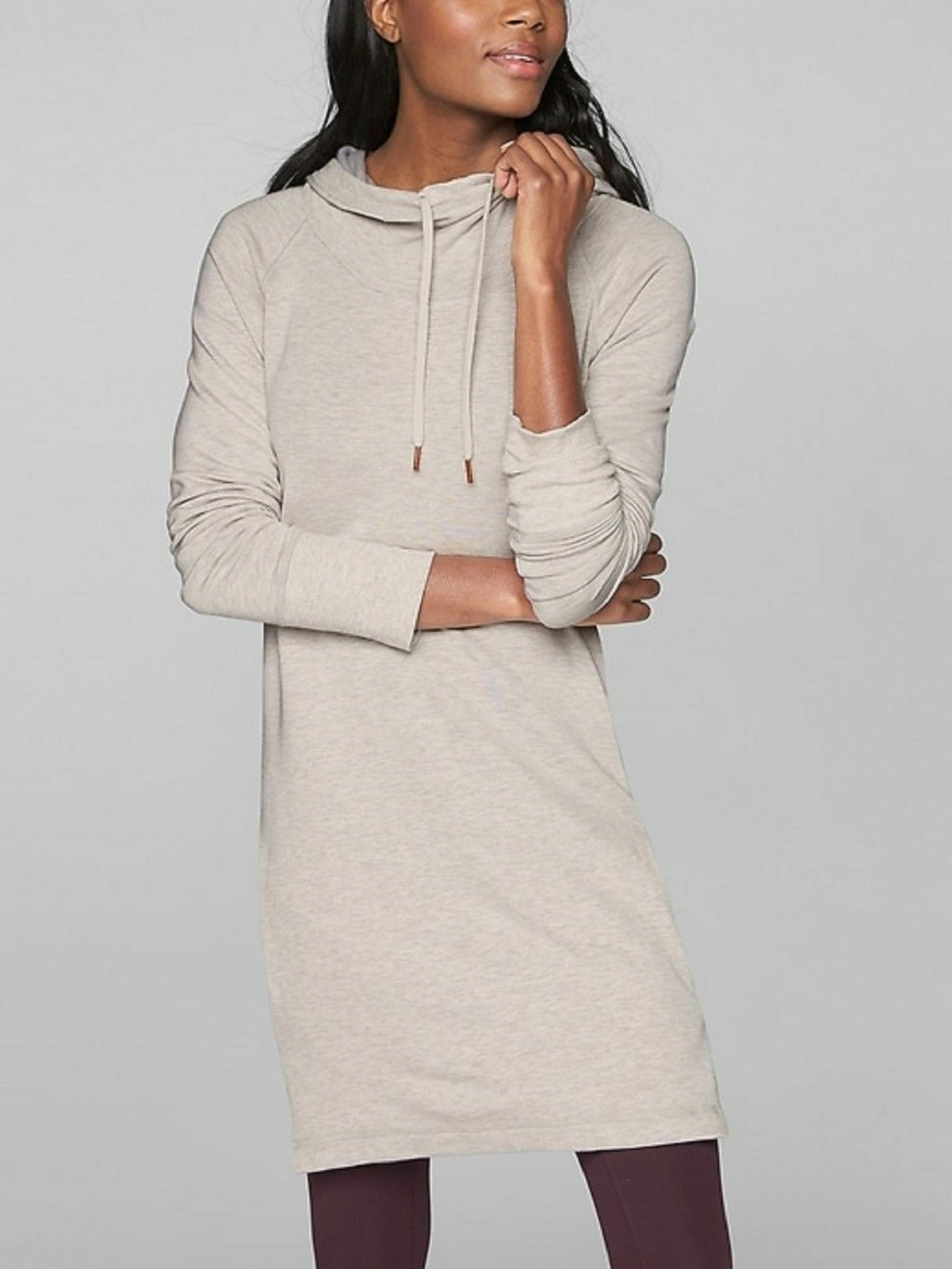 Athleta Pimlico Cowl Lounge Sweatshirt Dress,Toasted braun Heather SZ M