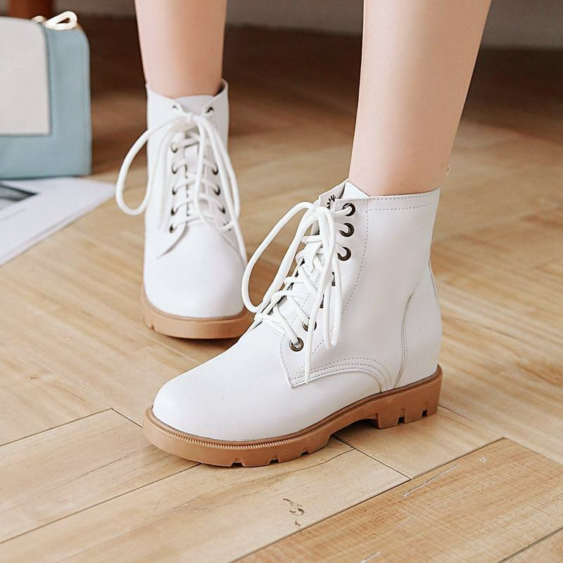 Pretty Womens PU Leather Ankle Boots Hidden Heels Round Toe Lace Up Combat Pumps