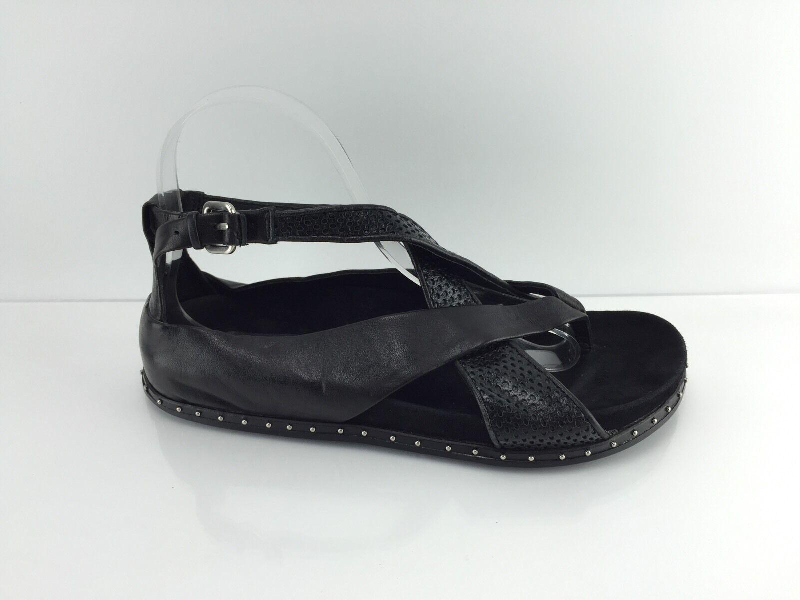 LAMB Women's Black Leather Sandals 7.5 M