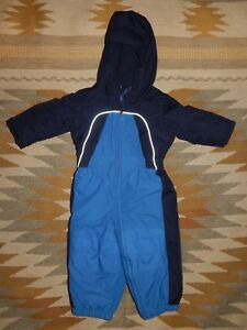 f21a3025c616 Lands  End ~ Toddler 12-18 Mos ~ Blue ~ Hooded ~ Full Body Snow Suit ...