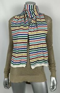 Talbots-Knit-Scarf-Multicolor-Metallic-Striped-70-in-X-7-in