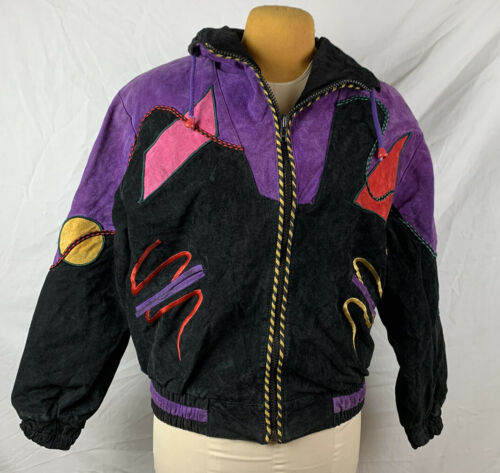 Vintage 80s Suede Leather Geometric Patchwork Wome