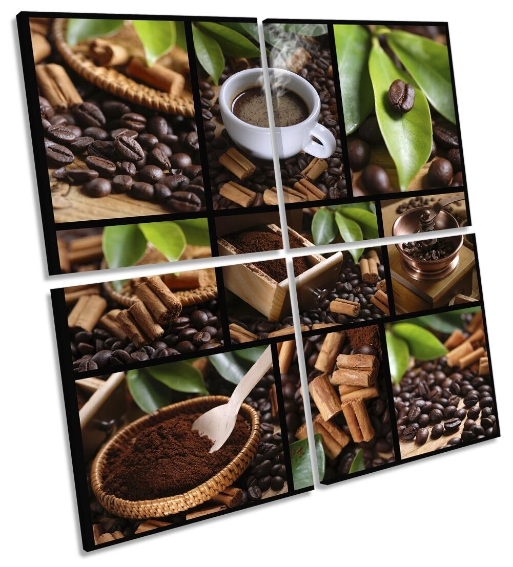 Coffee Café braun Leaves Beans Picture MULTI CANVAS WALL ART Square