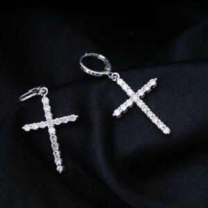 Women-Cross-Cubic-CZ-Crystal-Hoop-Dangle-Drop-Earrings-Silver-Plated-Fashion-New