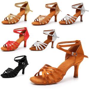 Hot-sale-Women-039-s-Ballroom-Latin-Tango-Dance-Shoes-Salsa-5-Colors-5-7cm-Heels