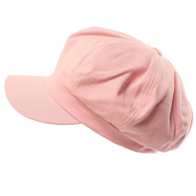 Summer 100% Cotton Plain Blank 6 Panel Newsboy Gatsby Apple Cabbie Cap Hat Pink