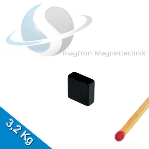 20 NEODYM MAGNETE  10 x 10 x 4mm NdFeB N45 Quadermagnet Epoxy Schwarz