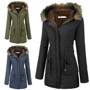 Womens Coats Warm Long Coat Fur Collar Hooded Jacket Slim Winter ...