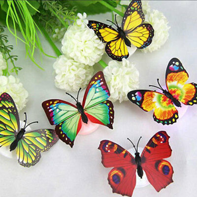 Color Changing Cute Butterfly Led Night Light Home Room Desk Wall Decor Romantic