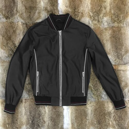 ZILLI Men/'s Navy Blue Perforated Genuine Leather Handmade Luxury Bomber Jacket