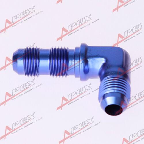 4AN 4AN AN-4 Bulkhead Fitting Adapter 90 Degree Aluminum Blue