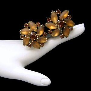 D-amp-E-Juliana-Vintage-Satin-Glass-Large-Clip-Earrings-Topaz-Rhinestones-Prong-Set