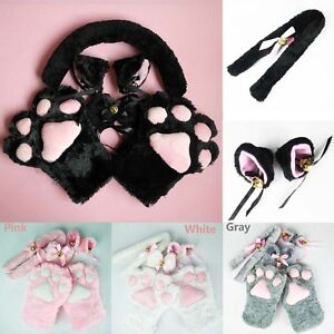 Image is loading New-Anime-Cosplay-Costume-Cat-Ears-Plush-Paw- & New Anime Cosplay Costume Cat Ears Plush Paw Claw Gloves Tail Bow ...