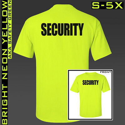Security T-Shirts ** S 5X ** Neon Yellow Safety Green ** Guard ** Shirt