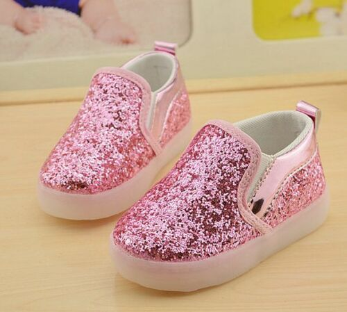 Light Up Girls Boys Kids Sport Shoes Children/'s Running Glitter Slip On Sneakers