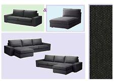 IKEA Kivik 3-Seat Sofa+Chaise Lounge Cover Dansbo Dark Gray Slipcover 4-Sectiona