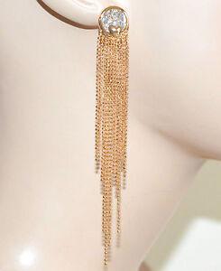 ORECCHINI donna ORO CRISTALLO pendenti ELEGANTI dorati earrings pendientes 1025