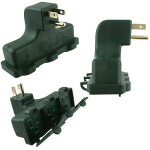 3-PC-RIGHT-ANGLE-OUTLET-WALL-TAP-UL-GROUNDED-Power-Socket-Splitter-Plug-Adapter