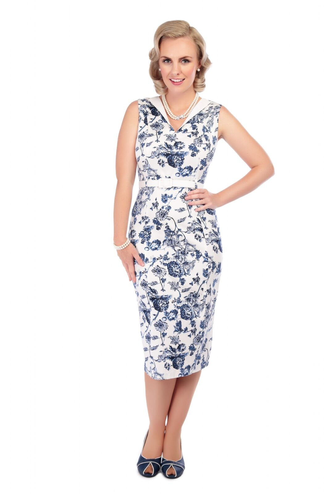 COLLECTIF VINTAGE TOILE HELEN PENCIL DRESS SZ 8-22 WHITE blueE FRENCH WALLPAPER