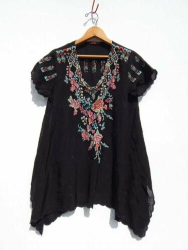 Jwla Embroidered ~ ~ Rayon Was Black Hem Sleeve Johnny Scalloped j Cap S Top EH0BqRyw