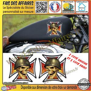 2 stickers autocollant croix de malt skull crane punisher réservoir moto casque
