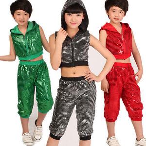 f5df54cd4 Boys Girls Modern Jazz Hip Hop Dancewear Kids Sequined Dance ...