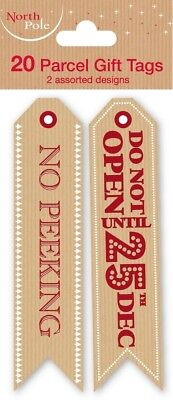 """Red /""""No Peeking/"""" Present Tags 2 Designs Pack of 20 Christmas Gift"""