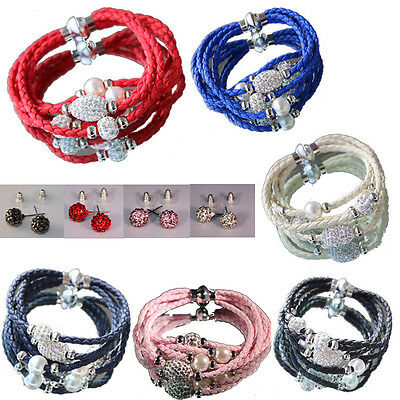 Shamballa Armband,Wickelarmband,Lederoptik mit Strass+Perlen,Magnetververschluss