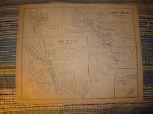 GREENFIELD WILTON NEW HAMPSHIRE ANTIQUE MAP SUPERB NR
